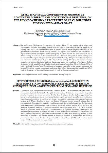 EFFECTS OF SULLA CROP (Hedysarum coronarium L.)  CONDUCTED IN DIRECT AND CONVENTIONAL DRILLINGS, ON  THE PHYSICO-CHEMICAL PROPERTIES OF CLAY SOIL UNDER  TUNISIAN SEMI-ARID CLIMATE