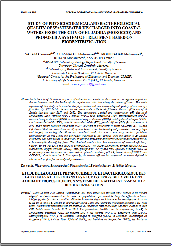 STUDY OF PHYSICOCHEMICAL AND BACTERIOLOGICAL QUALITY OF WASTEWATER DISCHARGED INTO COASTAL WATERS FROM THE CITY OF EL JADIDA (MOROCCO) AND PROPOSED A SYSTEM OF TREATMENT BASED ON BIODENITRIFICATION